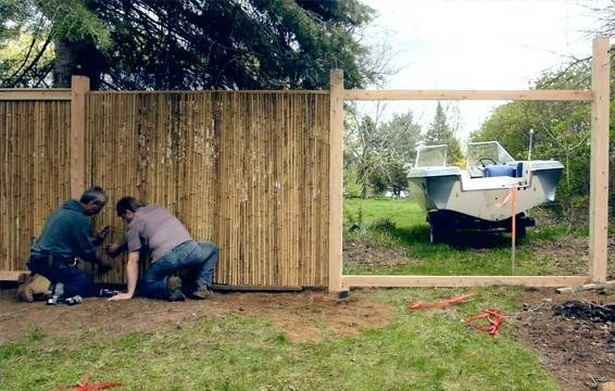 how to attach bamboo fencing to existing chain link fence
