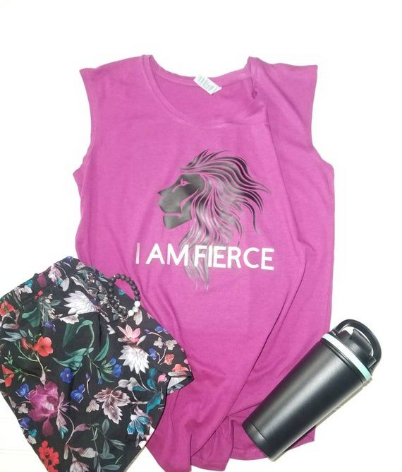 I AM FIERCE | workout shirt | womens workout clothes | tank | lion | fierce as a lion | gym clothes | motivation tee | gym shirt