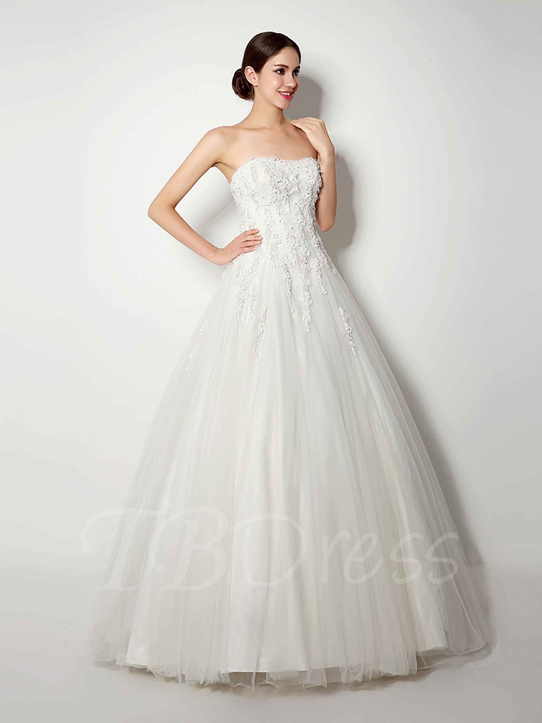 2a50764ffeb7 Little Flowers Beaded Strapless Ball Gown Wedding Dress Simple Lace Wedding  Dress, Princess Style Wedding
