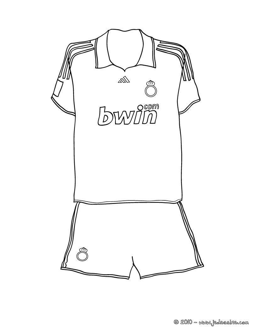 coloriage du maillot de foot du real de madrid un joli dessin colorier pour les fans de. Black Bedroom Furniture Sets. Home Design Ideas