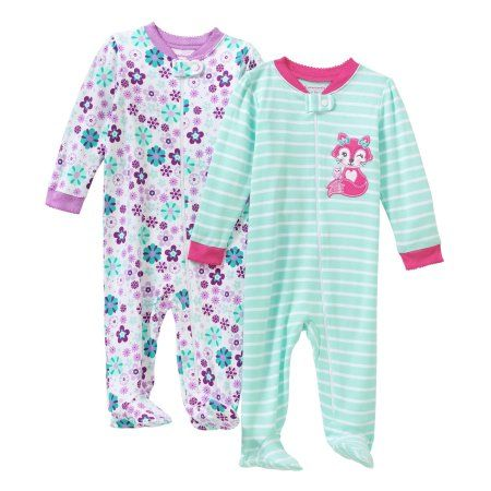 f312846ab Garanimals Newborn Baby Girl Sleep n' Play, 2 pack, Size: 0 - 3 Months, Pink