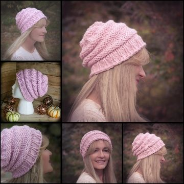Loom Knit Hat Pattern Slouch Hat Beanie Textured Bulky Chunky