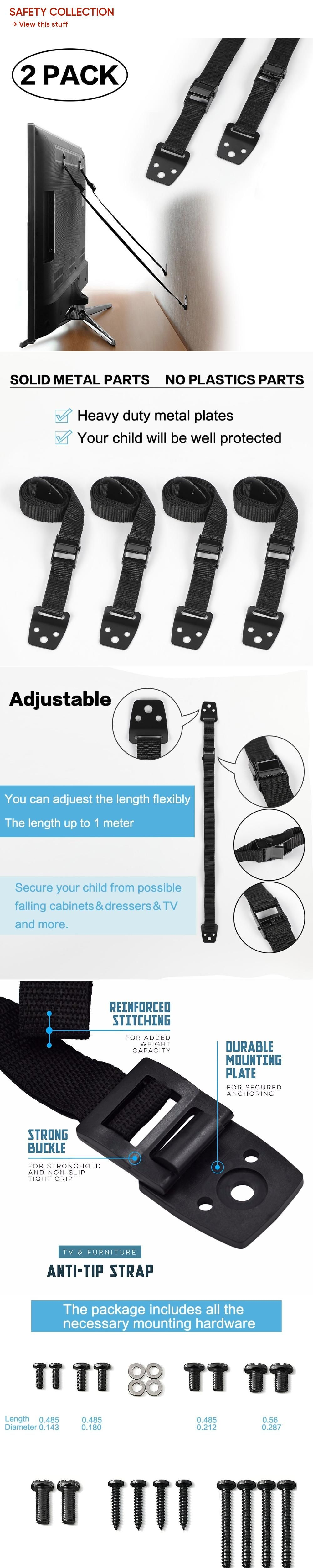 2 pack baby safety antitip straps for flat screen tvs and