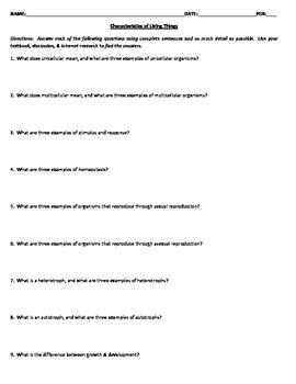 Characteristics Of Living Things Worksheet Worksheets