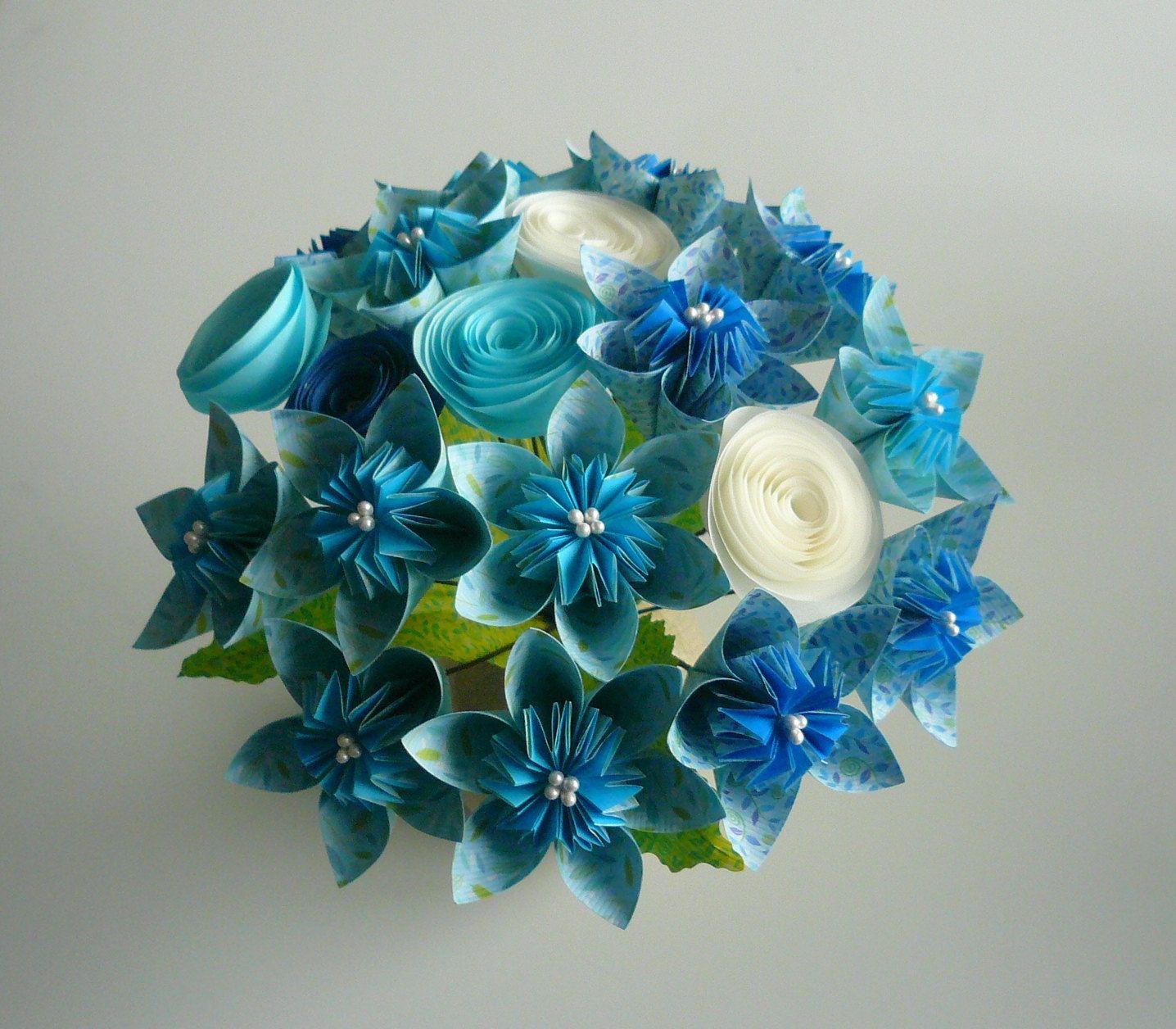 Blue Sky / Beautiful Paper Flower Bouquet /Can Make Wedding Bouquet ...