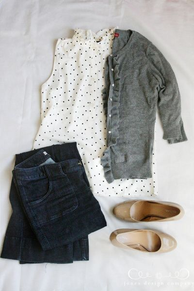 Sleeveless black and white polka dot blouse, grey cardigan, nude pumps or flats, dark skinny jeans