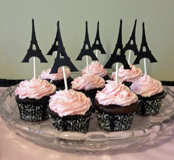 Set of 12 Eiffel Tower Paris Cupcake Toppers