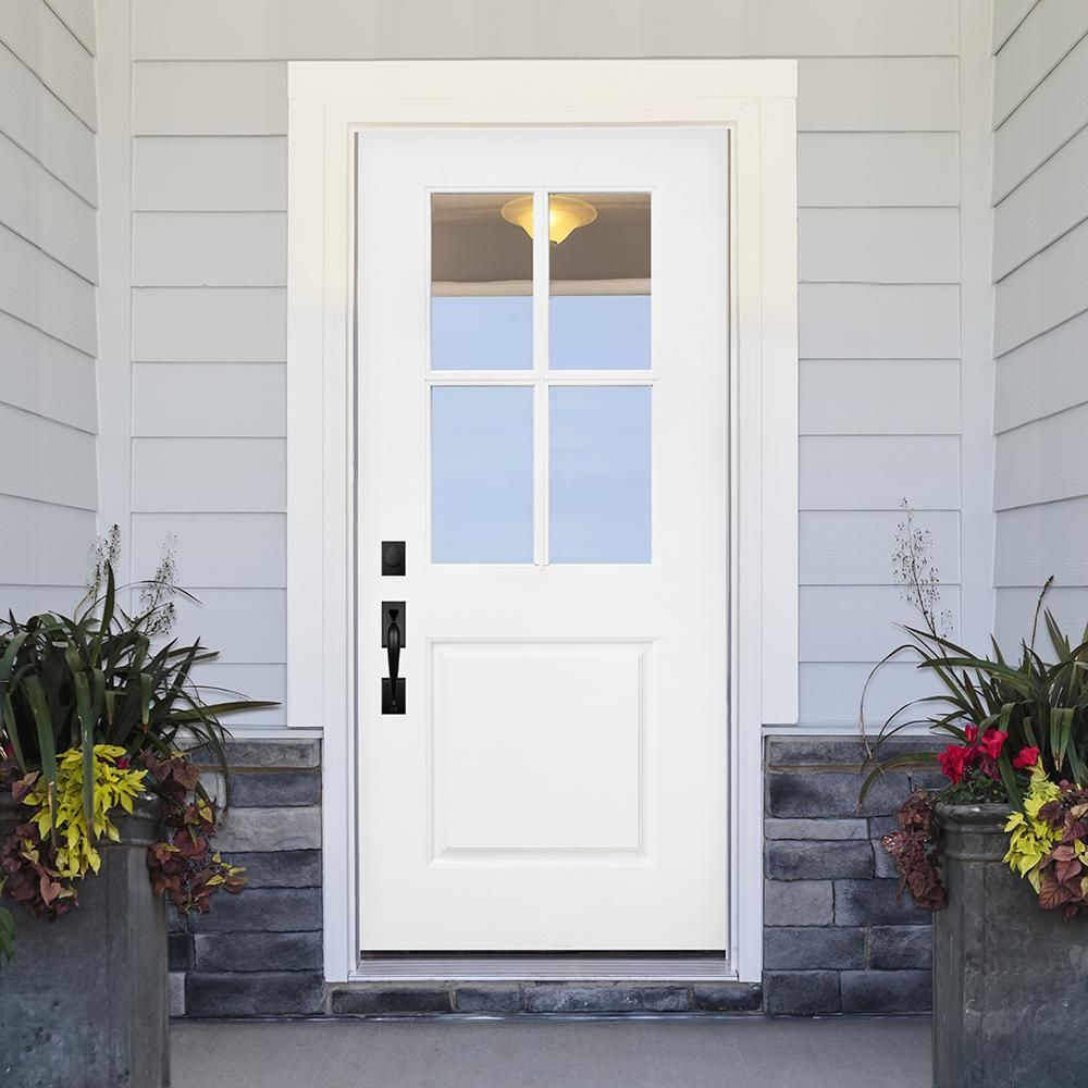 Steves Sons 36 In X 80 In Legacy Series 4 Lite Clear Glass Left Hand Outswing Primed Fiberglass Prehung Front Door 36fg 4lt Oslh The Home Depot In 2020 Craftsman Front Doors Front