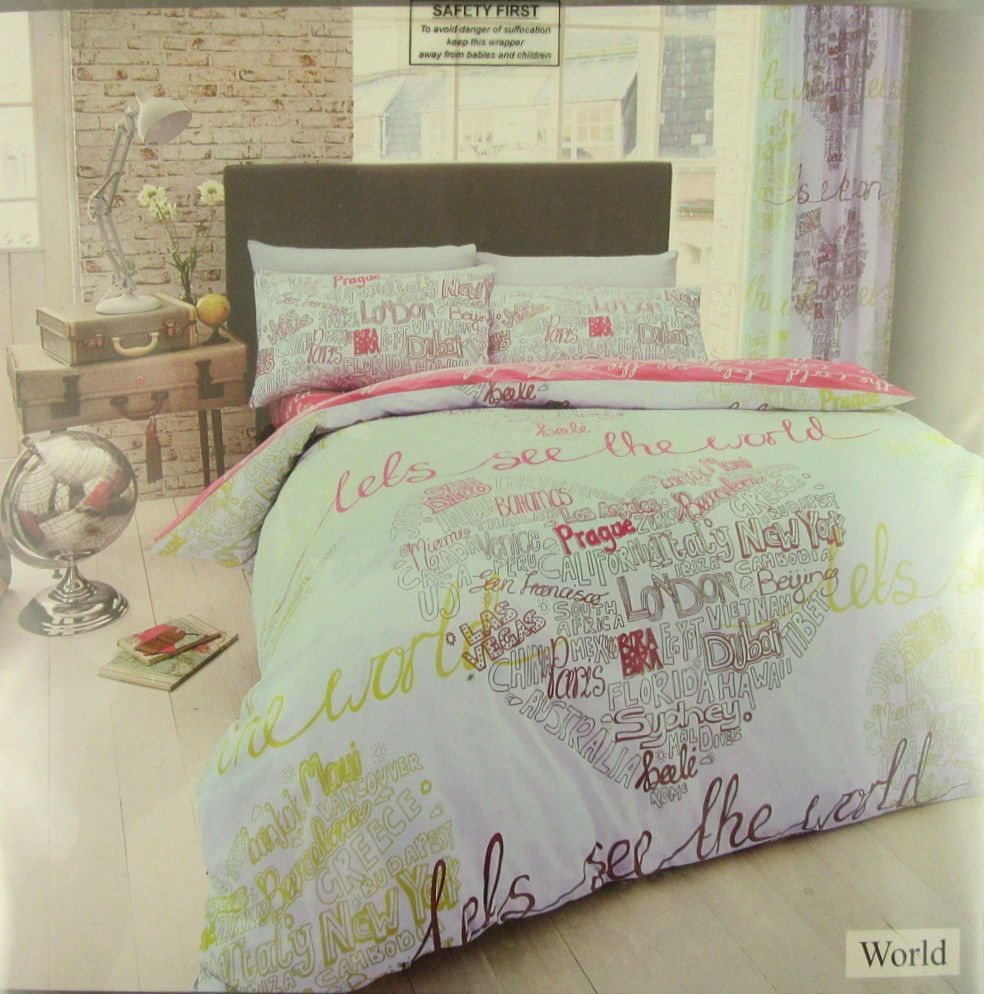 Permet De Voir Le World Ensemble De Couette New Double 2 Taies D