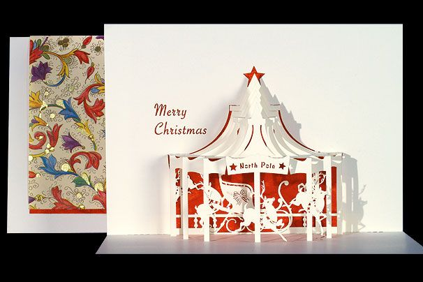Christmas Card Popup Carousel Pop Up Christmas Cards Pop Up Art Pop Up Greeting Cards