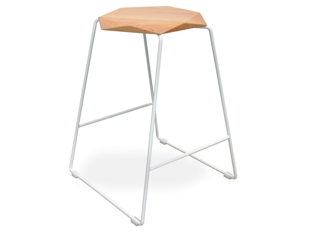 Wondrous Turin Metal And Faceted Solid Timber Bar Stool In White Andrewgaddart Wooden Chair Designs For Living Room Andrewgaddartcom