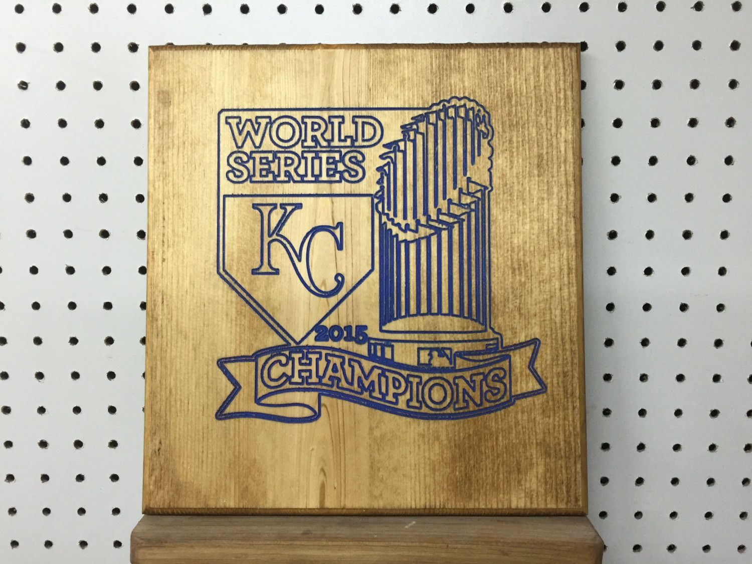 Carved Engraved Wood Sign World Series KC Royals 2015 Champions Any saying can be made..just ask! KC Royals Sign