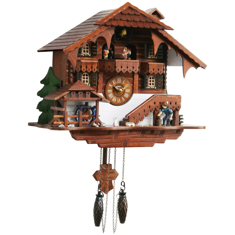 Kassel Large Cuckoo Clock With Multiple Moving Facets People Moving Water Wheel Sports Outdoors Kassel Reloj De Pared Reloj