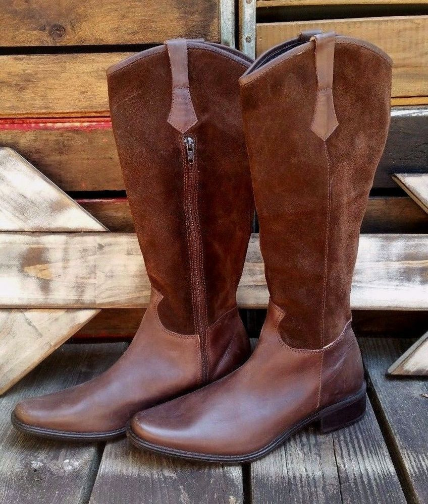 2dead3ea1e7d8 EDDIE BAUER Brown Suede & Leather Knee High Fashion Riding Boots ...