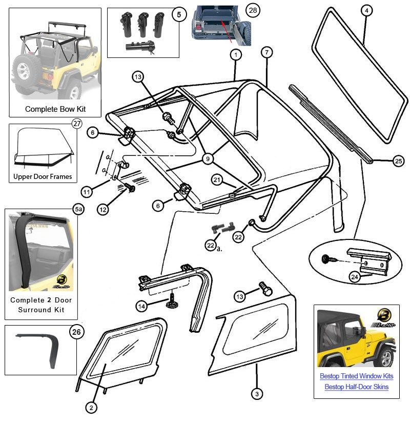 Awesome Jeep Soft Top Hardware Diagram Jeep Wrangler Soft Top Jeep Wrangler Tj Soft Tops