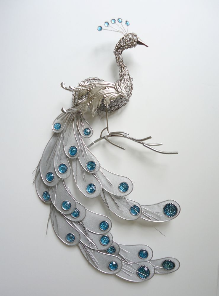Fanciful silver peacock wall art decor metal hanging bird for Silver wall art