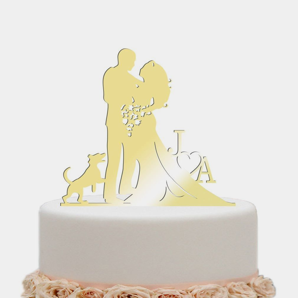 Wedding Cake Toppers Bride And Groom Heart Flower Dog Mirror Gold ...