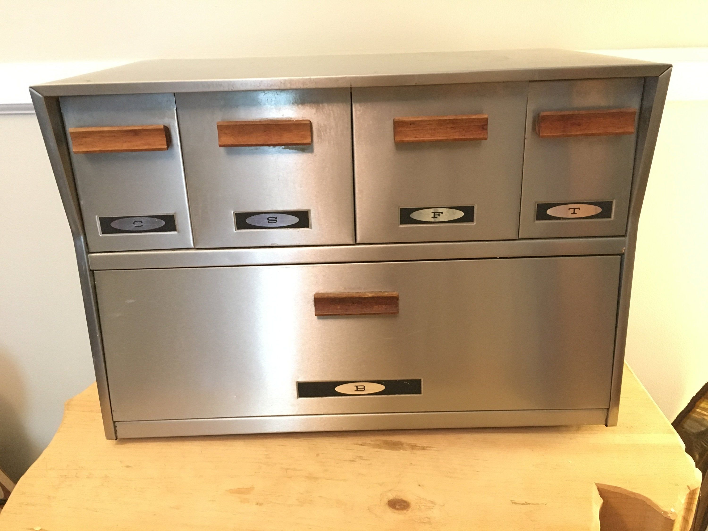 1970s chrome bread box canister set teak handles mid