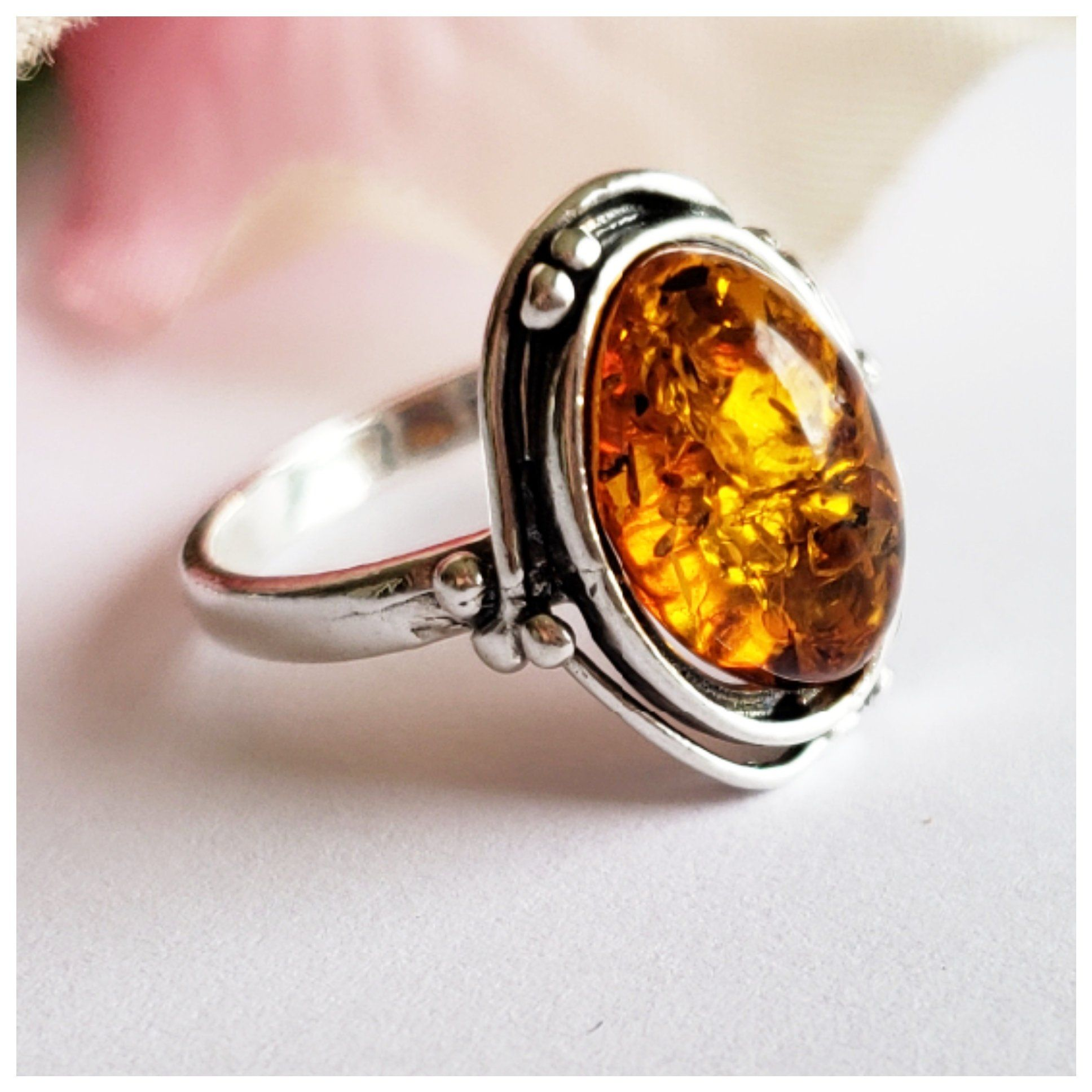Cognac Baltic Amber 925 Silver Ring Jewellery