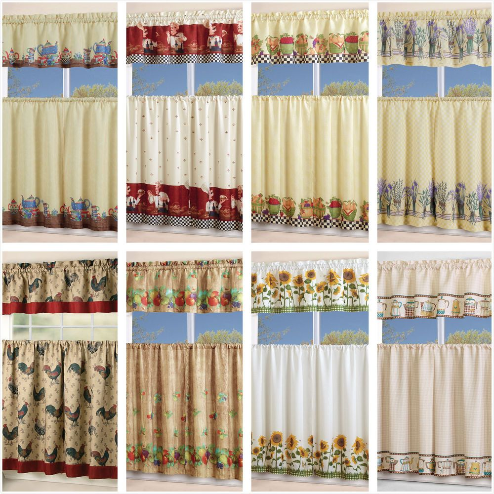 Kitchen window treatments   piece floral kitchen curtain with swag and tier window treatment