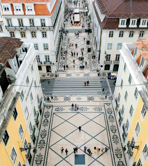 To get this view—100 feet above street level—of the Rua Augusta, a pedestrian strip in Lisbon, head to the Rua Augusta Arch