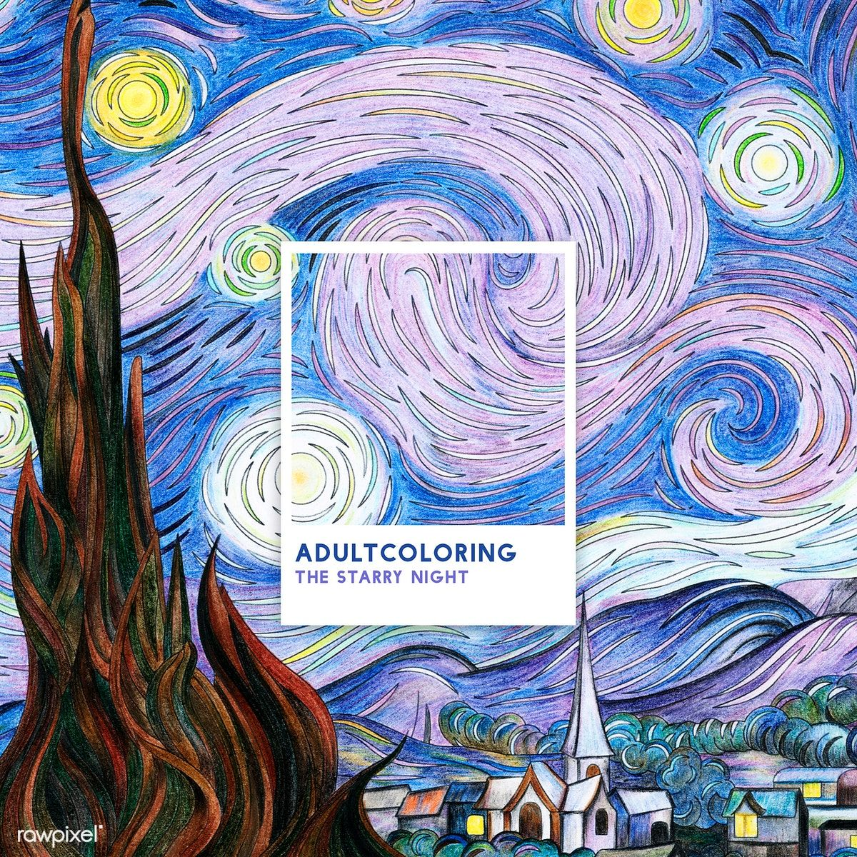 The Starry Night 1889 By Vincent Van Gogh Adult Coloring Page