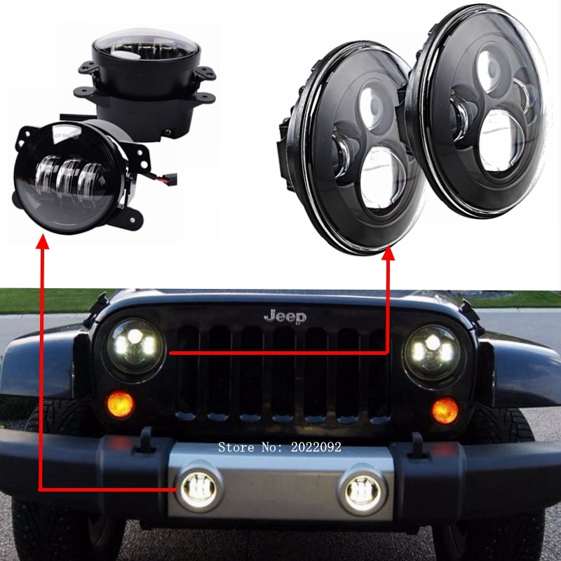 """139.20$  Watch here - http://ali95z.worldwells.pw/go.php?t=32633476798 - """"1 set 2*Round led headlight 7 inch led headlight with high/low beam + 2*4"""""""" 30W LED Driving Fog Light for Jeep Wrangler"""" 139.20$"""
