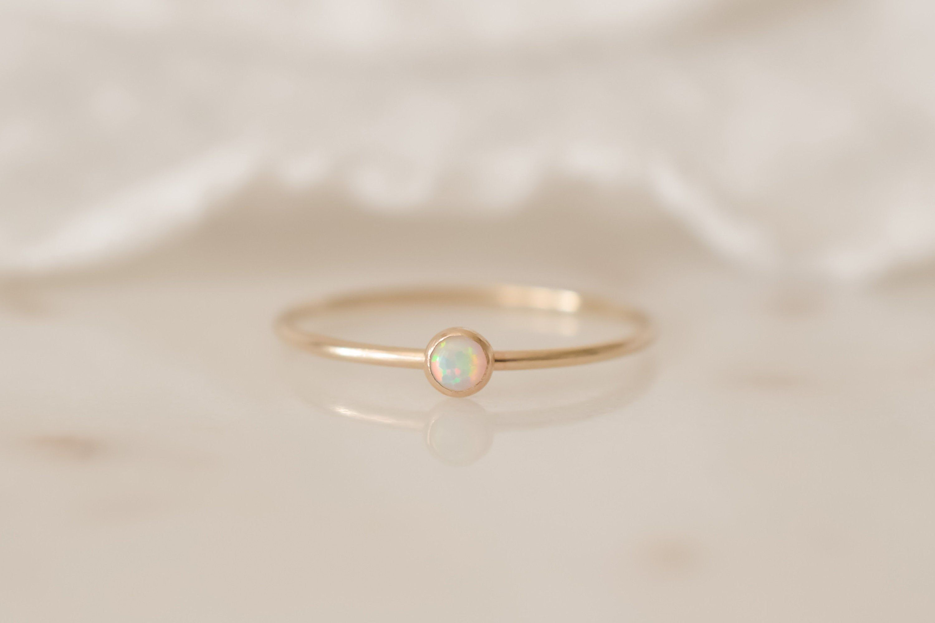 Photo of ISABEL 14k Gold Filled White Opal Stacking Ring; Made To Order; Handmade Dainty Jewelry; Gemstone Ring Stacker Made in USA Handcrafted