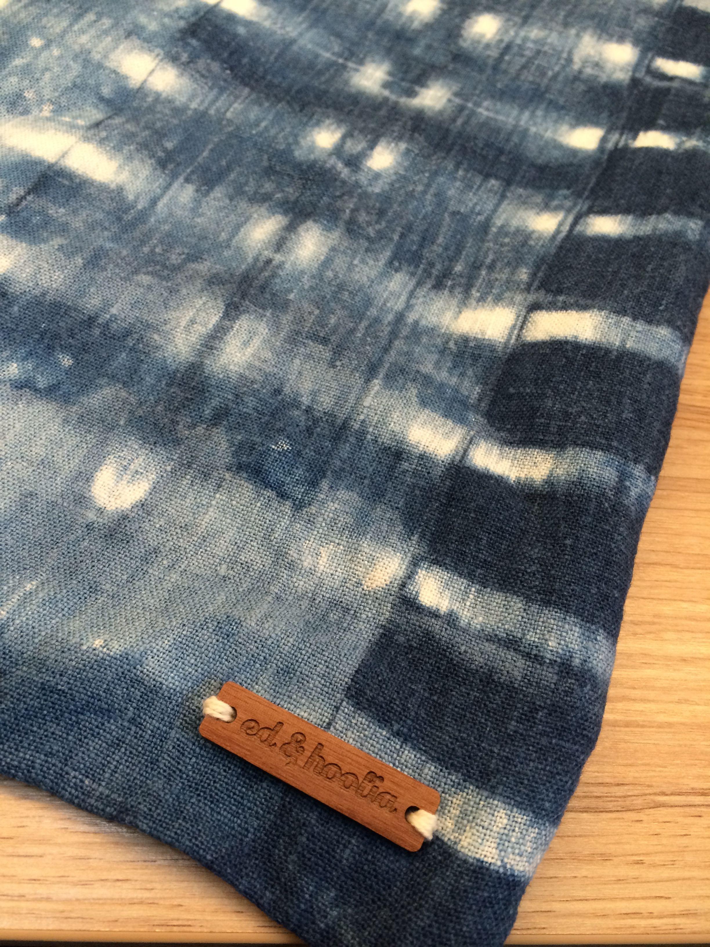 Thoroughly enjoyed hand stitching our new wooden tag to this gorgeous made-to-order indigo shibori cushion cover. #shibori #indigo #wood #branding #cushions #handmade #madetoorder
