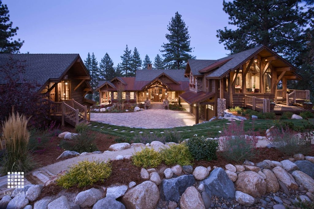Rustic Exterior of Home with Accent landscape lighting, Brick and