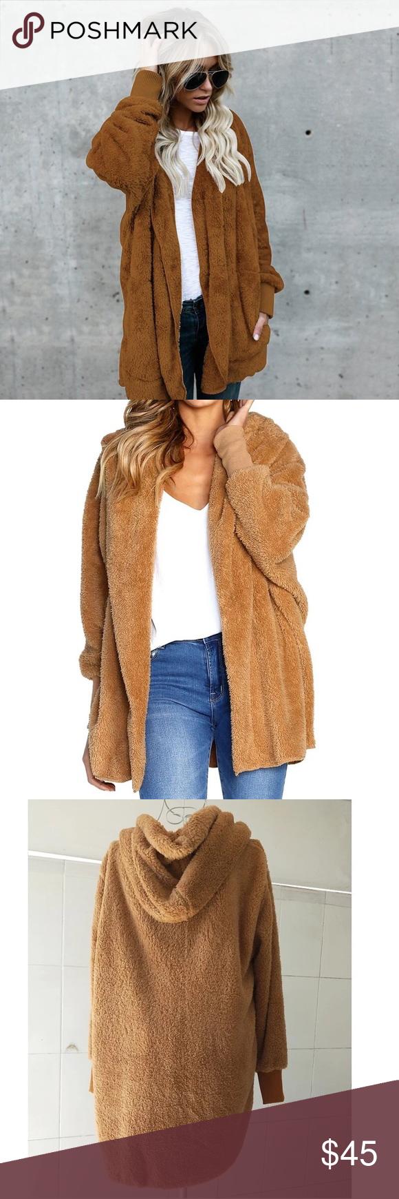 fa8f90067 Teddy bear fuzzy Sherpa hoodie jacket coat Never worn brand new This ...