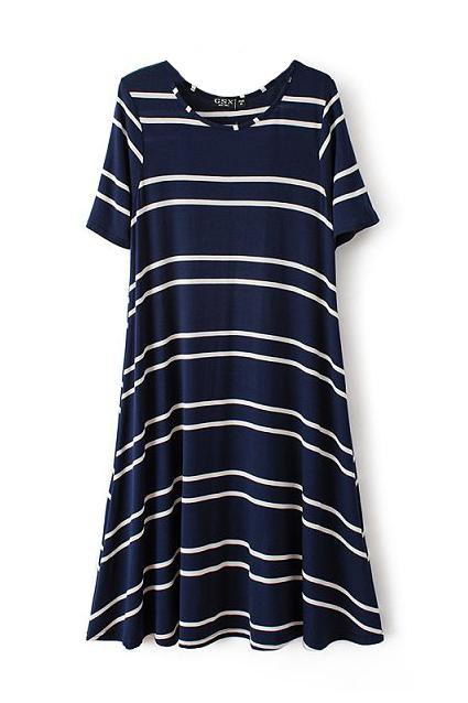 Premium Navy Blue Nautical Stripe Flared Casual Tee Swing Dress