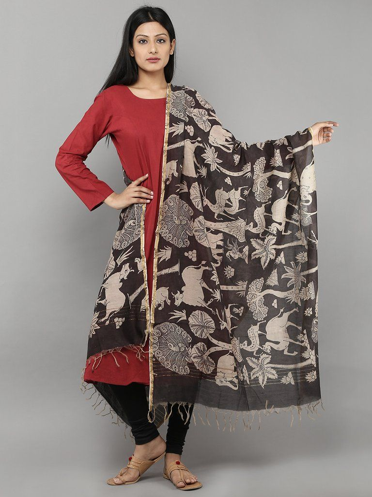 6e5c2ad4987 Black Jungle Chanderi Hand Painted Kalamkari Dupatta