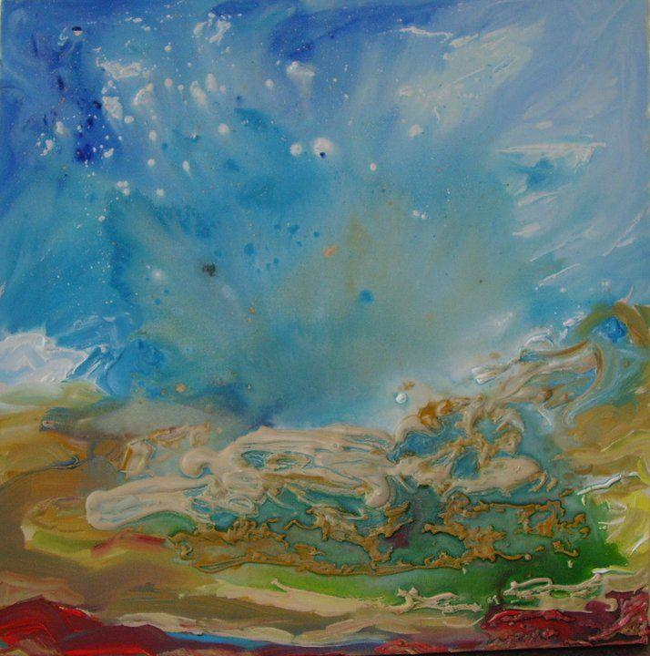 John's art - one of my favourites - Skyscape, 2010, Acrylic on canvas, 60 x 60 cm