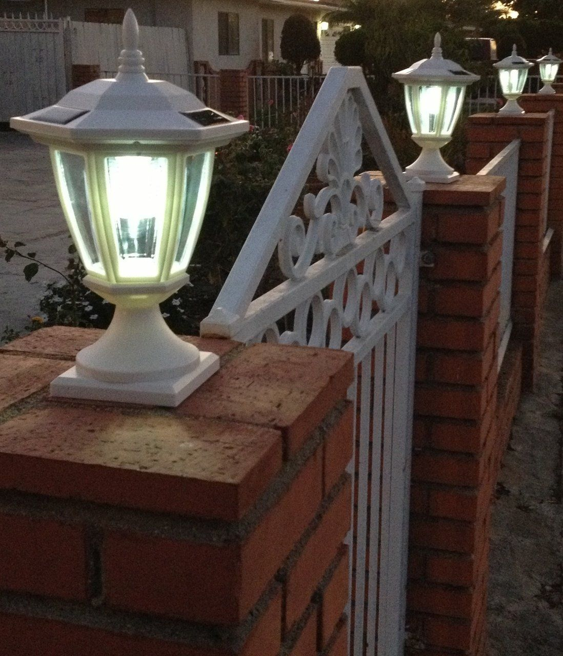 2 Pk Solar Hexagon Light W Wall Mount Or Fence Post Cap Base 4 5 6 Accessory 3 3 4 X 3 3 4 Base Lamp Post Lights Fence Post Caps Solar Led Lights