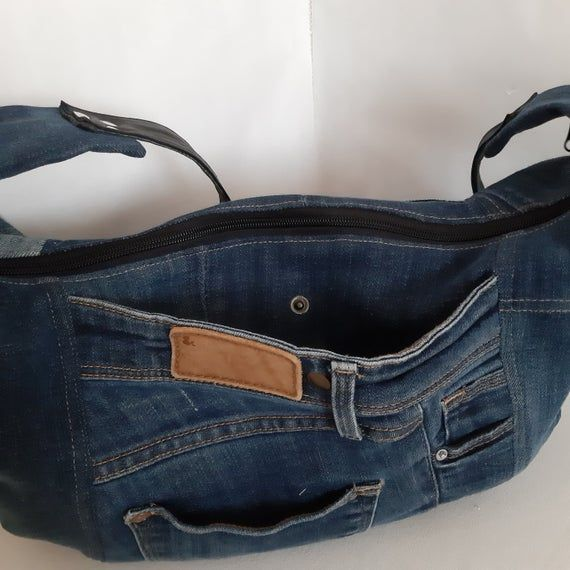 Denim slouchy bag, Casual hobo bag of shabby jeans, Jean purse medium size