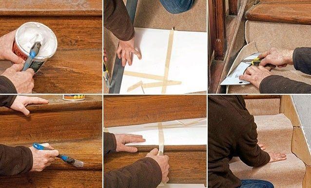 coller une moquette sur un escalier en bois rev tements. Black Bedroom Furniture Sets. Home Design Ideas