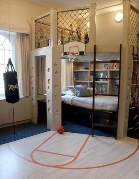 A Boys Bedroom. A Basketball Court For Boys Room