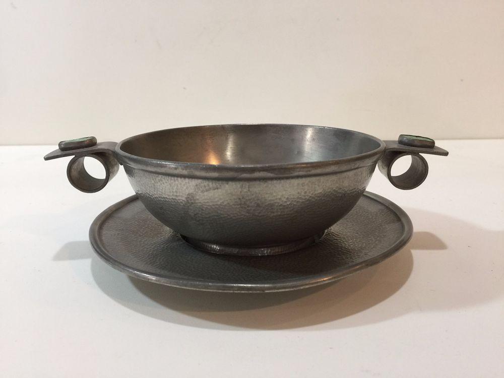 Antique chinese pewter handled bowl wgreen jade