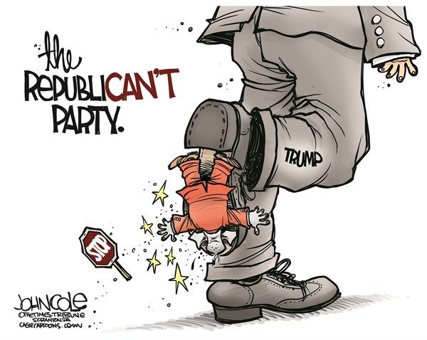 Image result for cartoons trump without a gop party