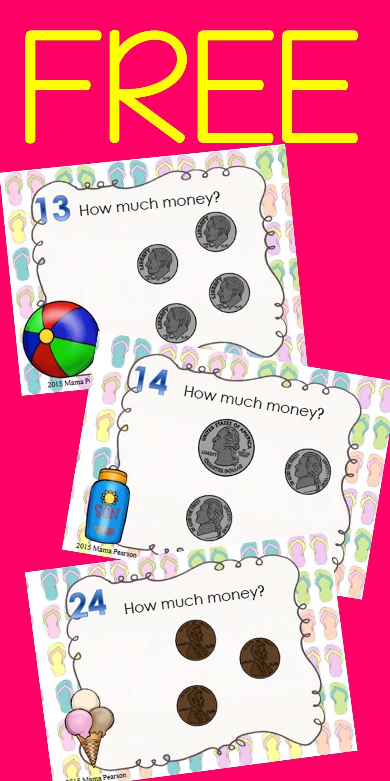Free Summer Money Task Cards