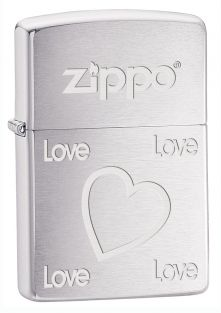 Love and Heart Zippo lighter now available from Zippo UK now only £17.50 Brushed Chrome, Packaged in an environmentally friendly gift box. Lifetime Guarantee
