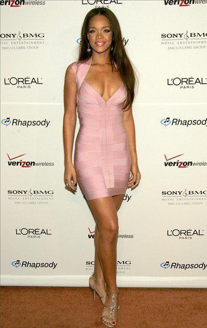 Rihanna wearing this very feminine pink bandage dress   What\'s New ...