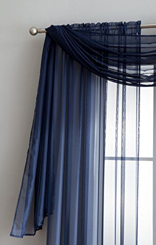 Voile Extra Long Sheer Curtains Panels And Scarf Hanging On A
