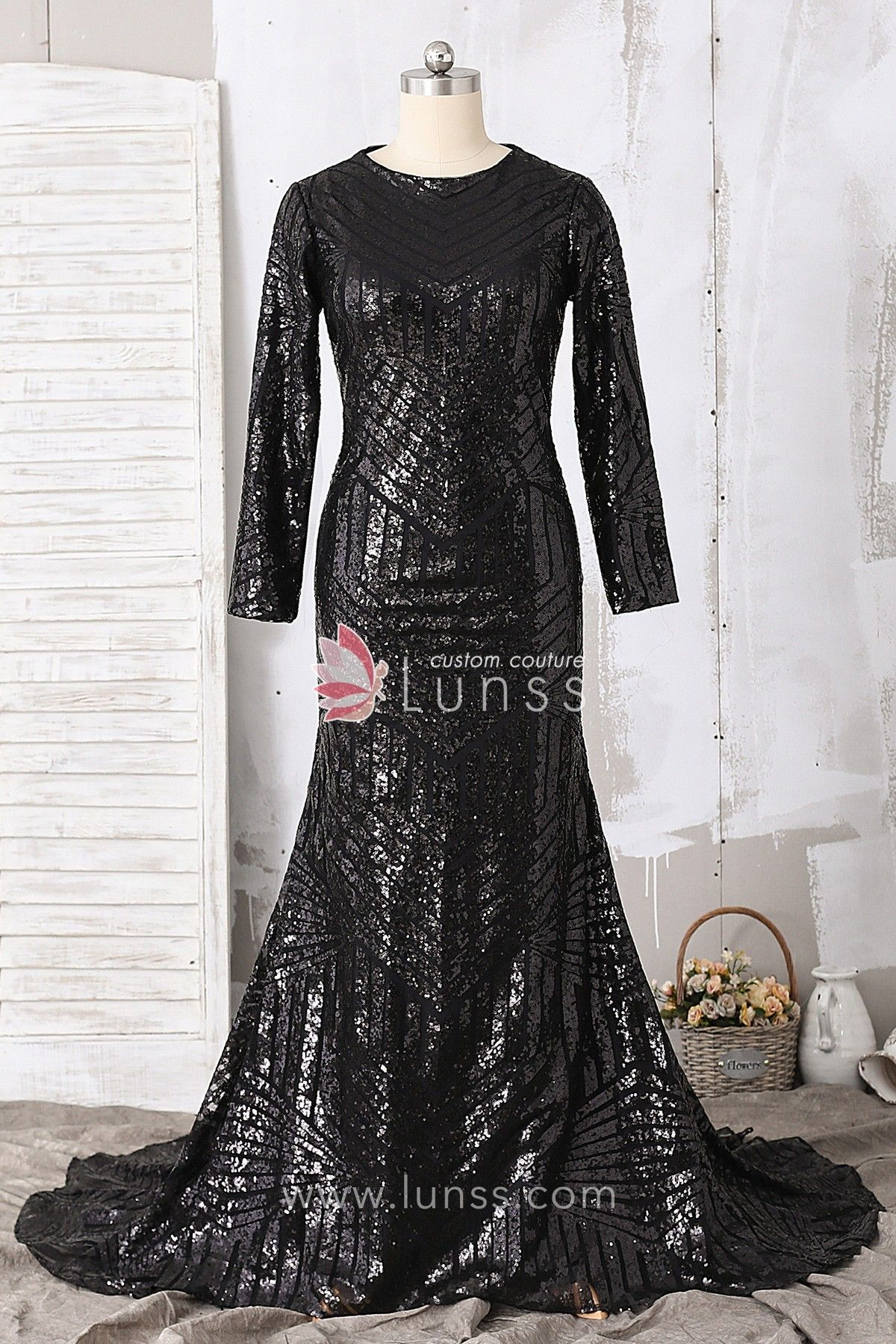 Black long sleeve bateau neckline pattern sequin long mermaid prom