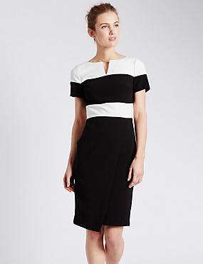 Colour Block Wrap Shift Dress