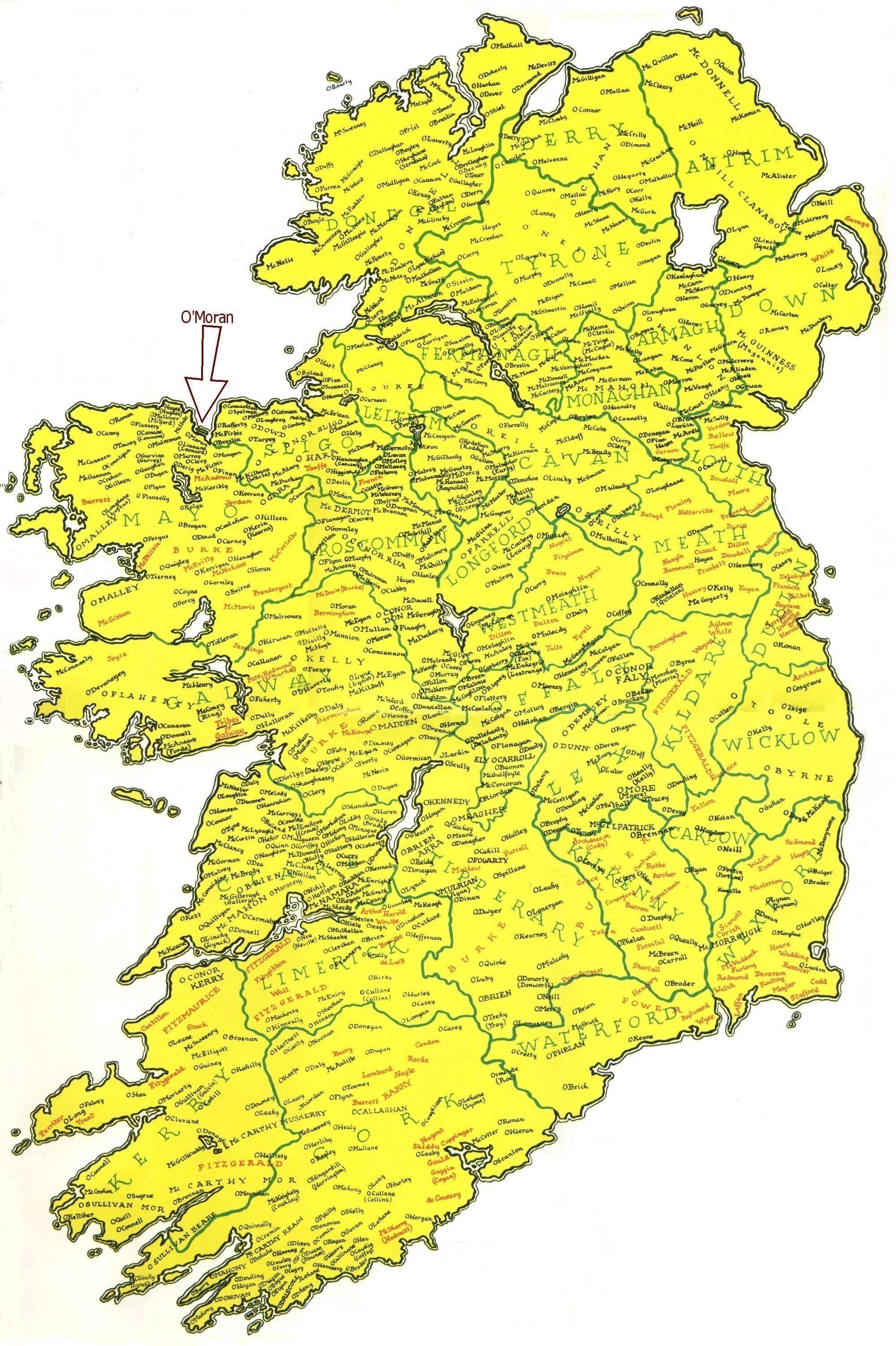 Location Of Irish Family Names Also Seeking ORourke Its Spellings Fitzpatrick