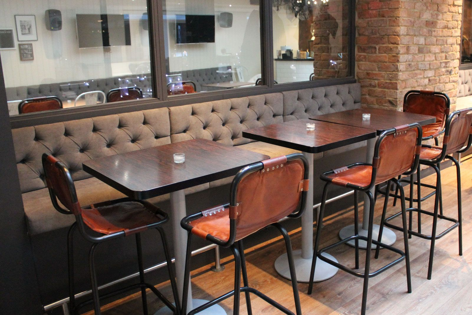 Great Banquette Seating Set With Brown Tufted High