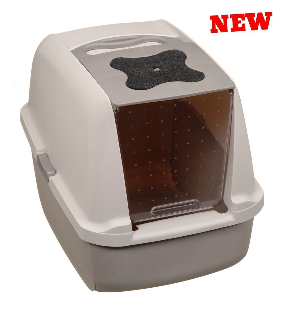 Cat Litter Pan Hooded Pet Box Bin Enclosed Covered Kitty