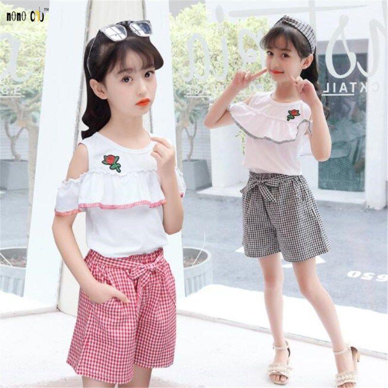 6a001ef43d5c3 Summer Girls Sets Two Pieces Kids Clothes Set T Shirt & Pants Flower ...